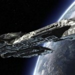 USS Ticonderoga in orbit over Earth