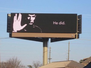 A billboard honoring the late Leonard Nimoy.