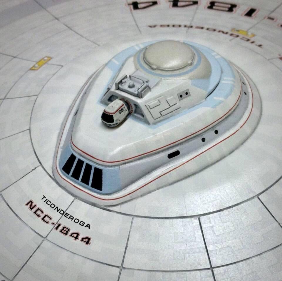 USS Ticonderoga model bridge module with travel pod.
